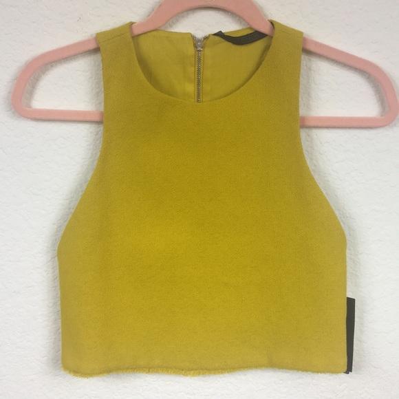 7a527468753e1 New Zara Mustard Crop Top Cut Out TRAFALUC Size XS